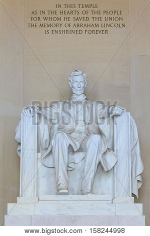 Statue of Abraham Lincoln Lincoln Memorial Washington DC