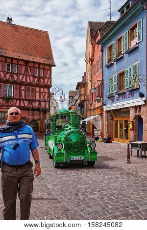 Little Green Train In Colmar In Alsace In France