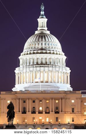 The United States Capitol building in Washington DC USA - night scene