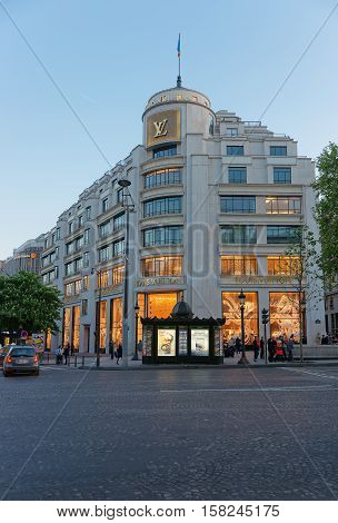 Louis Vuitton Flagman Store On Avenue Of Champs Elysees