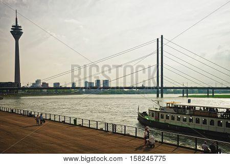 Media Harbor And Rheinturm Tower Of Dusseldorf Germany