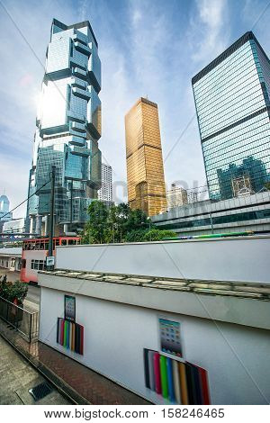 Modern Glass Skyscrapers Of Hong Kong Island