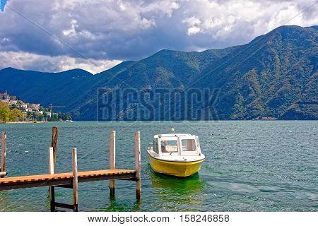 Motor Boat At Promenade In Lugano In Ticino In Switzerland