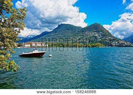 Motor Boat At Promenade In Lugano Of Ticino In Switzerland