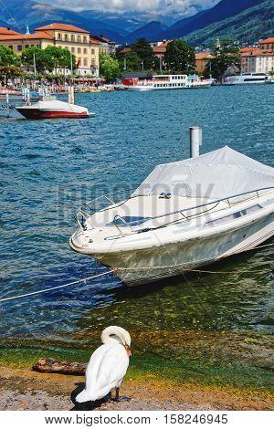 Motor Boats At Promenade Lugano In Ticino In Switzerland