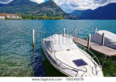 Motor Boats At Promenade In Lugano In Ticino Of Switzerland