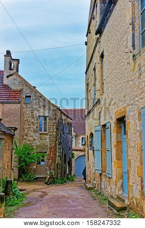 Narrow Street Of Vezelay At Bourgogne Franche Comte In France
