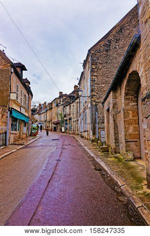 Narrow Street Of Vezelay In Bourgogne Franche Comte In France