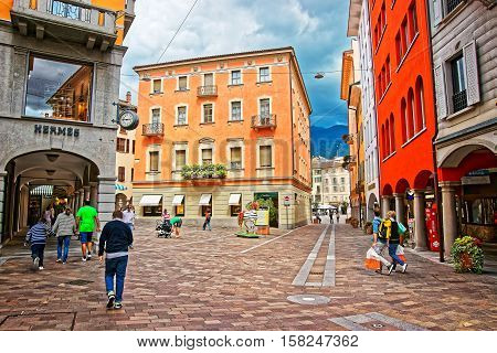 Nassa Street In City Center In Lugano Of Ticino Switzerland