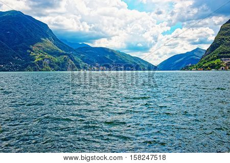 Nature Of Lake Lugano And Mountains In Ticino In Switzerland