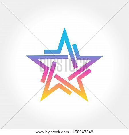 Colorful Star logo and icon design, vector illustration