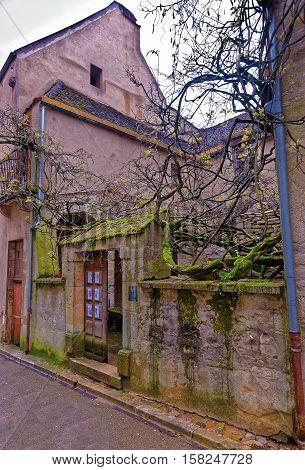 Old Street Of Vezelay In Bourgogne Franche Comte In France