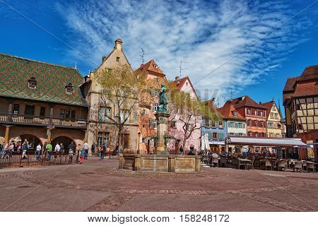 Old City Center In Colmar In Alsace Of France