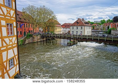 Old Houses And Regnitz River At Old City Center Bamberg