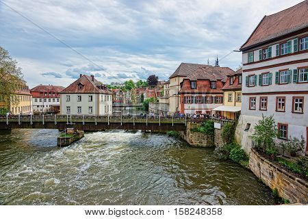 Old Houses And Regnitz River In City Center Bamberg