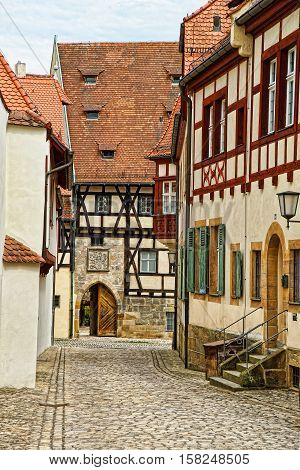 Old palace in the city center of Bamberg in Upper Franconia Bavaria of Germany. It is also called Alte Hofhaltung.