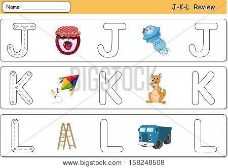 Cartoon Jellyfish, Jam, Kite, Kangaroo, Lorry And Ladder. Alphabet Tracing Worksheet