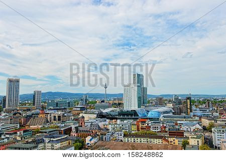 Panoramic Frankfurt Skyline And Romerberg City Hall Square
