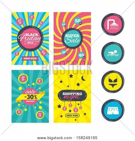 Sale website banner templates. Swimming pool icons. Shower water drops and swimwear symbols. Human swims in sea waves sign. Trunks and women underwear. Ads promotional material. Vector
