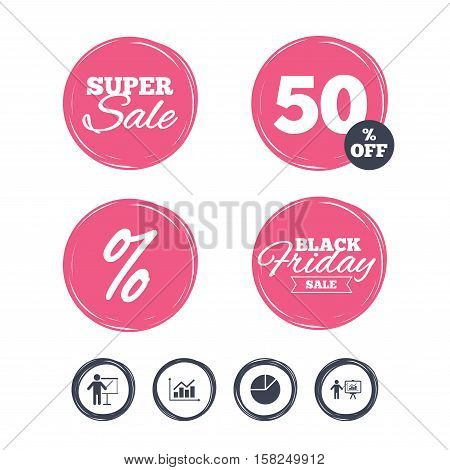 Super sale and black friday stickers. Diagram graph Pie chart icon. Presentation billboard symbol. Supply and demand. Man standing with pointer. Shopping labels. Vector