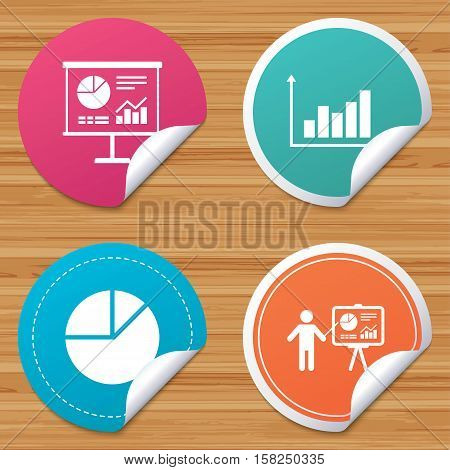 Round stickers or website banners. Diagram graph Pie chart icon. Presentation billboard symbol. Supply and demand. Man standing with pointer. Circle badges with bended corner. Vector
