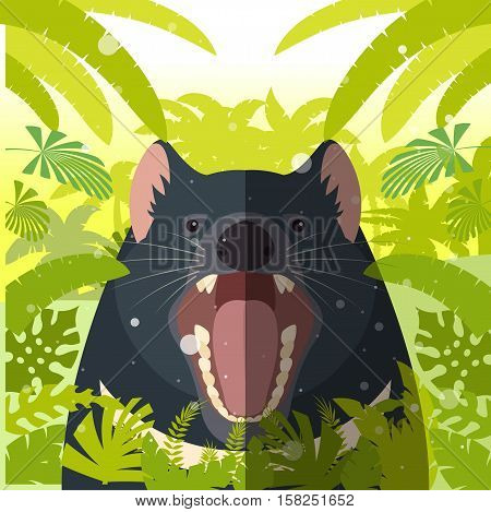Flat Vector image of the Tasmanian devil on the Jungle Background