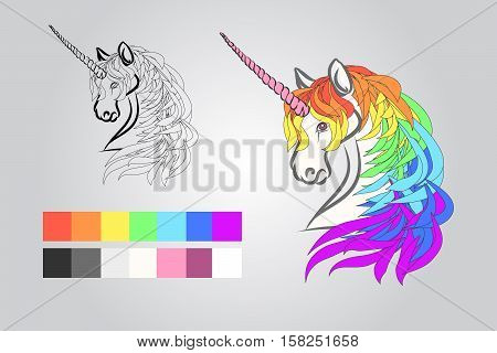 Example of a drawing of a unicorn example colors. The contour of the head of a unicorn and in color. Page child book vector illustration