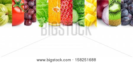 Fresh ripe fruits and vegetables. Food concept