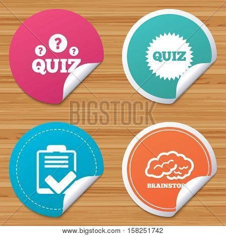 Round stickers or website banners. Quiz icons. Brainstorm or human think. Checklist symbol. Survey poll or questionnaire feedback form. Questions and answers game sign. Vector