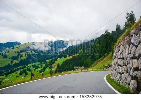 Roadway At Boltigen At Jaun Pass In Fribourg Of Switzerland