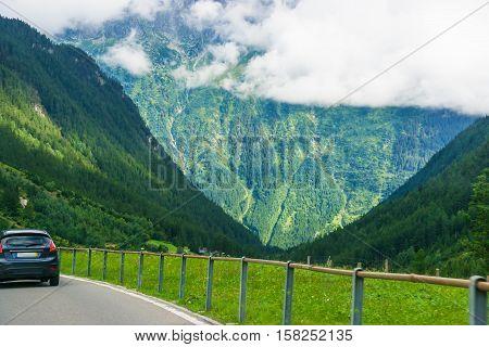 Roadway In Lauterbrunnen Valley In Interlaken Oberhasli Bern Canton Switzerland