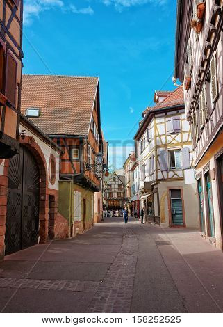 Rue Saint Nicolas Street In Colmar In Alsace In France