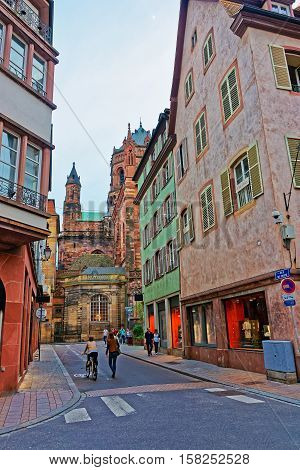 Rue De Dome Street And Cathedral In Strasbourg In France