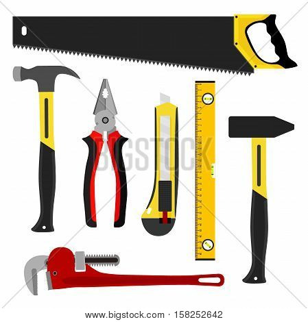 Set of tools, worker kit. Construction items in flat style. Isolated saw, hammers, wrench, knife and waterpas.
