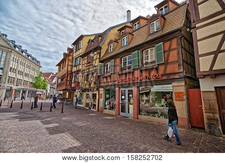 Rue Des Tetes Street In Colmar In Alsace In France