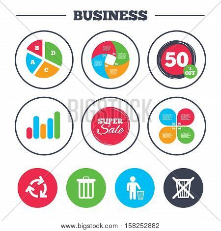 Business pie chart. Growth graph. Recycle bin icons. Reuse or reduce symbols. Human throw in trash can. Recycling signs. Super sale and discount buttons. Vector