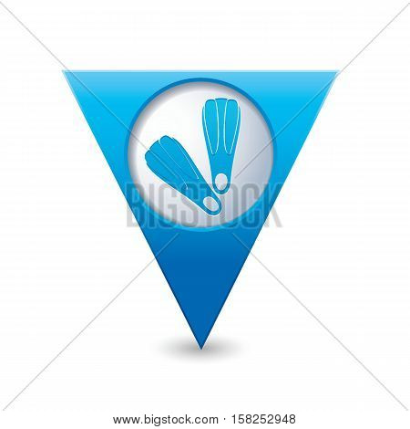 Map pointer with flippers icon. Vector illusyration