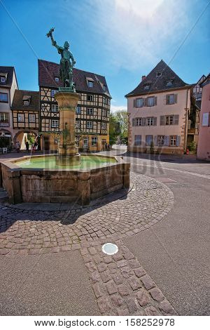 Schwendi Fountain In Colmar In Alsace France
