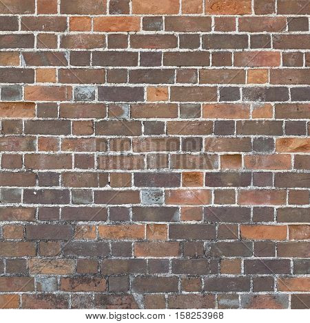 Spotted Red Brown Black Old Urban Brick Wall Background. Retro Brickwall Square Structure. Grungy Frame Texture Backgrounds. Home House Interior Design Mottled Element In Vintage Modern Style.