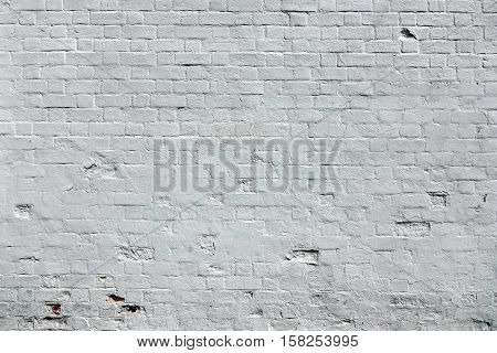 White Brick Wall Background. Whitewash Brick Wall Texture. Abstract White Backdrop. Surface For Modern Street Graffitti Art