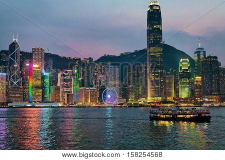 Skyline In Victoria Harbor Hong Kong