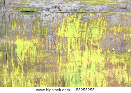 Old Rust Eroded Yellow Metal Iron Decay Crumpled Sheet Background. Weathered Iron Rusty Messy Wreck Isolated Texture. Corroded Iron Metal Structure. Abstract Aged Ragged Shabby Steel Sheet Surface.