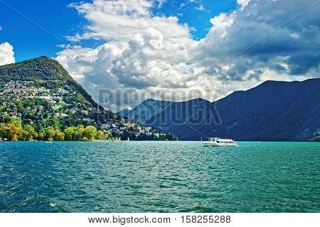 Small Passenger Ship At Promenade  Lugano Ticino Switzerland
