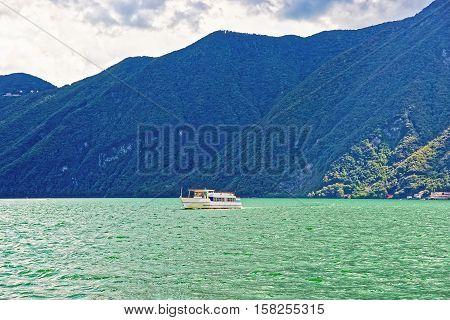 Small Passenger Ship At Promenade In Lugano Ticino In Switzerland