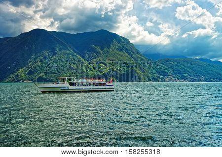 Small Passenger Ship At Promenade In Lugano Ticino Of Switzerland