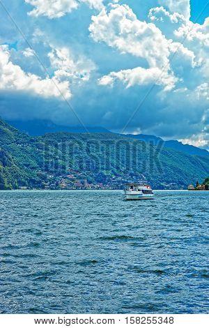 Small Passenger Ship At Promenade Of Lugano Ticino Of Switzerland