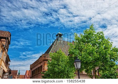Spire Of Old Custom House In Colmar In Alsace France