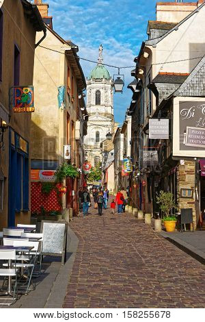 St Melaine Church And Street In Rennes In Brittany France