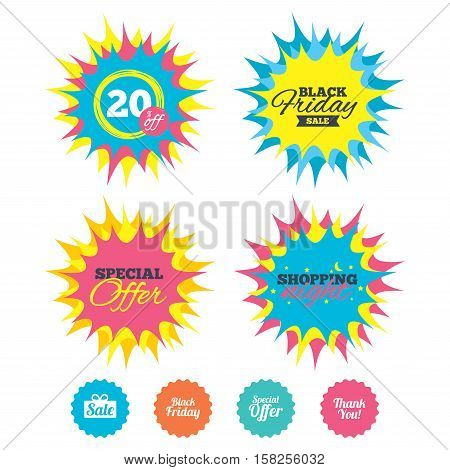 Shopping night, black friday stickers. Sale icons. Special offer and thank you symbols. Gift box sign. Special offer. Vector