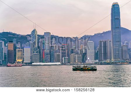 Star Ferry And Victoria Harbor Of Hong Kong